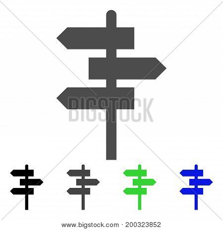 Way Pointer flat vector pictogram. Colored way pointer, gray, black, blue, green pictogram versions. Flat icon style for application design.