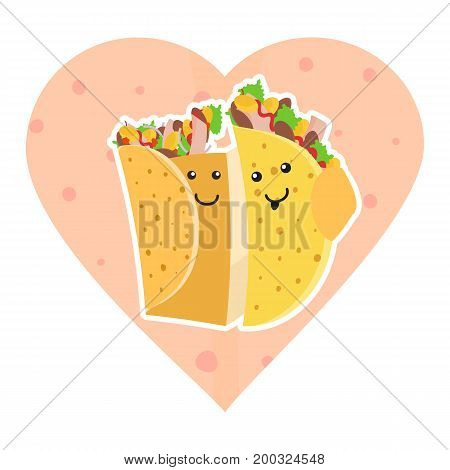 Cute mexican food smiling taco and burrito characters embracing each other on pink heart tortilla background. Cute fast food burritos and tacos love characters embrace each other for cafe menu design