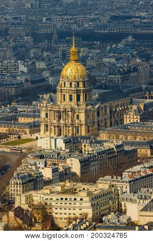 Close-up Of Cathedral Of Les Invalides With Napoleon's Tomb In Paris