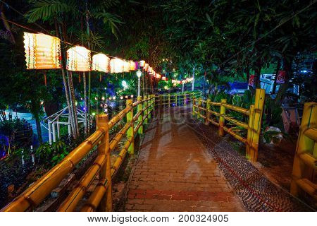 Night park decorated with paper lanterns on Mid-Autumn Festival at Thean Hou Temple Kuala Lumpur Malaysia.