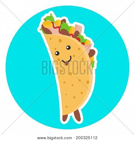 Cute smiling female taco character putting out tongue on blue background. Nice flirting tacos lady for mexican food advertisement