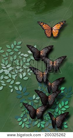 Graphic illustration of beautiful fully developed Monarch Butterfly leading a group of young undeveopled gray black ones. Conceptual graphic of teaching or leadership.