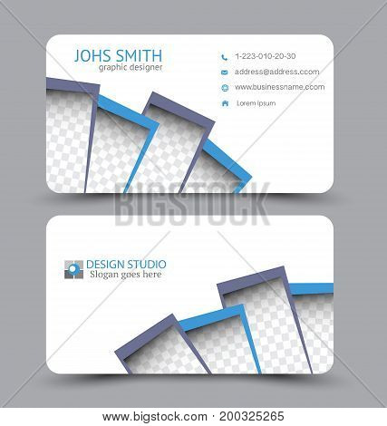 Business card. Design set template for company corporate style. Vector illustration. Grey and blue color.