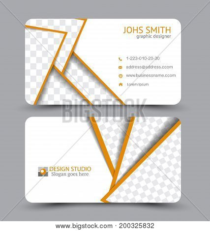 Business card. Design set template for company corporate style. Vector illustration. Orange color.