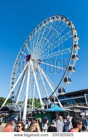 Brisbane, Australia - July 9, 2017: Wheel of Brisbane is a 60 metre tall Bussink R60 Ferris wheel on Brisbane's Southbank.