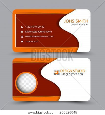 Business card. Design set template for company corporate style. Vector illustration. Red and orange color.
