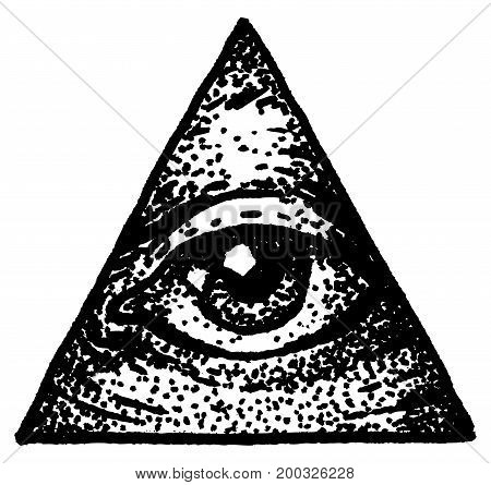 The eye in the triangle, drawing in the style of dotwork