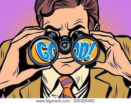 Good Businessman looking through binoculars. Pop art retro vector illustration