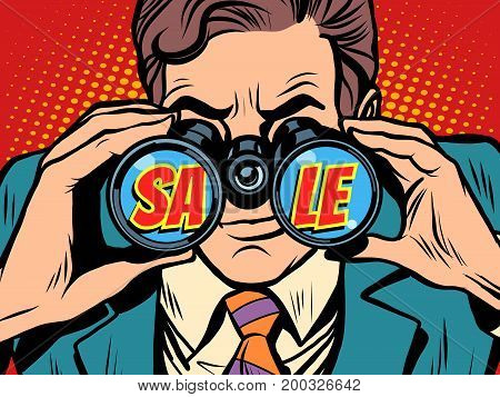 Sale Businessman looking through binoculars. Pop art retro vector illustration