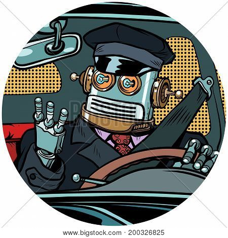 driver robot drone pop art avatar character round icon. unmanned pilotless. retro vector illustration