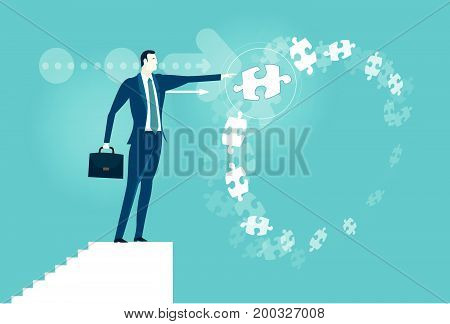 Businessmen making the right design  in front of background made of flying puzzle pieces. Making the right decision. Business concept illustration.