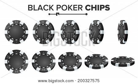 Poker Chips Vector. 3D Set. Plastic Round Poker Chips Sign Isolated On White. Flip Different Angles