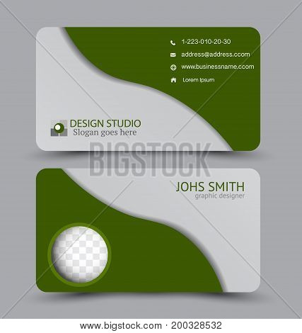 Business card. Design set template for company corporate style. Vector illustration. Green color.