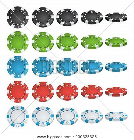 Poker Chips Vector. Flip Different Angles. Set Classic Colored Poker Chips Icon Isolated On White. White, Red, Black, Blue, Green Casino Chips Illustration.