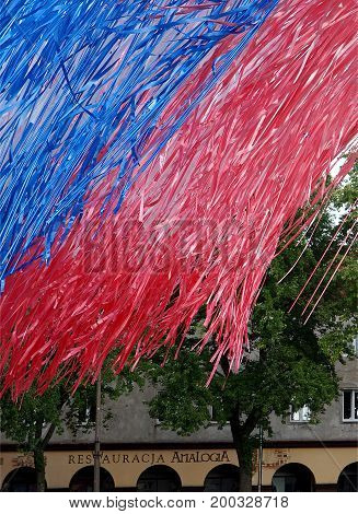 Ribbons on the Old Market. Lodz, Poland - August 18, 2017 Effective composition with ribbons in the Old Market, scenery for parties to celebrate the birthday of Lodz.