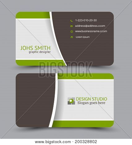 Business card. Design set template for company corporate style. Vector illustration. Green and brown color.