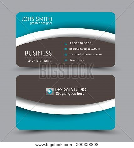 Business card. Design set template for company corporate style. Vector illustration. Blue and brown color.