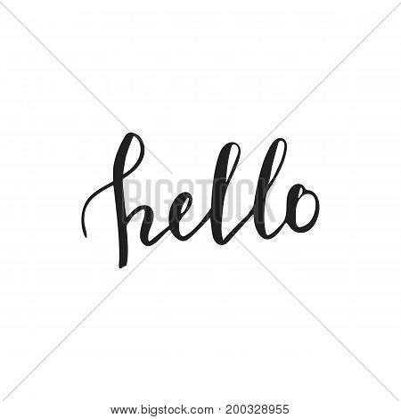 Hello Hand Lettering. Greeting Card With Modern Calligraphy.
