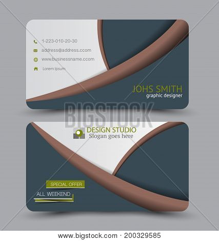 Business card. Design set template for company corporate style. Vector illustration.