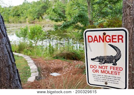 Gator warning Sign at Florida Botanical Garden