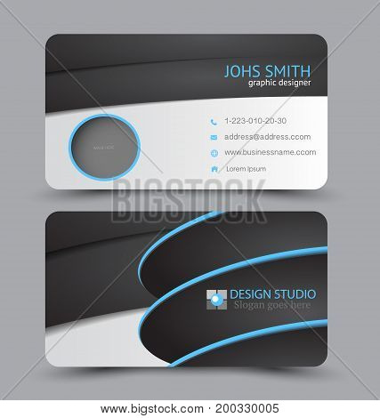 Business card. Design set template for company corporate style. Vector illustration. Black and blue color.
