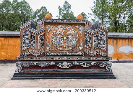 Detail of a ceramic mosaic Tomb of Empress Le Thien Tomb(Khiem Tho) in Tomb of Emperor Tu Duc.