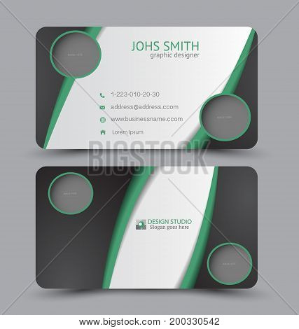 Business card. Design set template for company corporate style. Vector illustration. Black and green color.