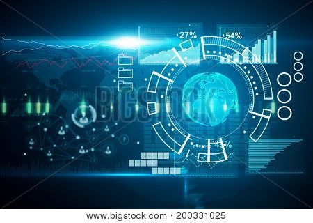 Digital business hologram and forex chart on blue background. Economy concept. 3D Rendering
