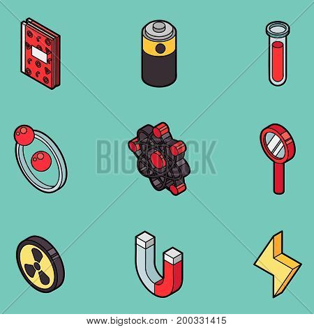 Physics color outline isomeric icons and science equipment concept. Flat design vector illustration.