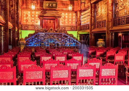 Hue Vietnam - Mar 16 2017: The interior of the theater scene in the royal town of Hue. Vietnam