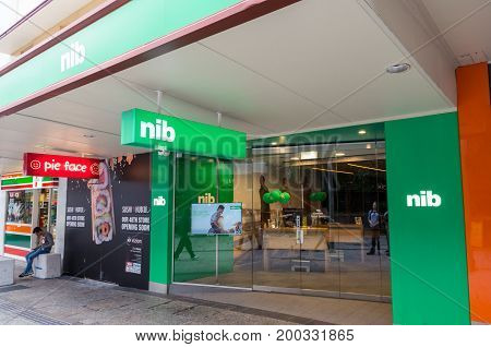 Brisbane, Australia - July 9, 2017: NIB is Australia's third largest private health insurance fund. This is a central Brisbane office.