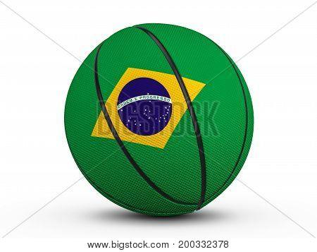 Basketball Ball Brazil Flag 3D Illustration