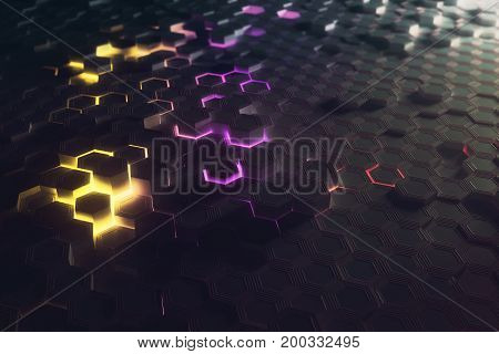 Futuristic glowing colorful bright hexagonal or honeycomb background. Technology future and innovation concept. 3D Rendering