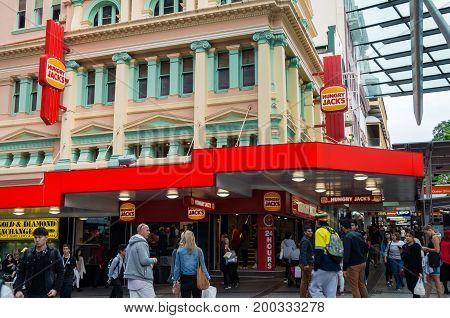 Brisbane, Australia - July 9, 2017: Hungry Jacks is an Australian hamburger fast food chain. This restaurant is in central Brisbane.