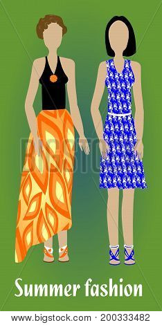 Youth summer fashion girl silhouettes in modern colorful clothes fashion design vector EPS 10