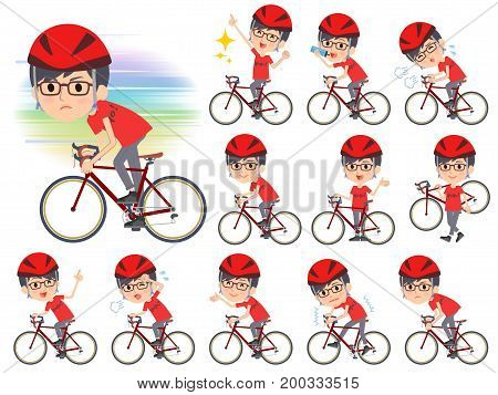 Red Tshirt Glasse Men_rode Bicycle