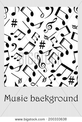 Seamless music background with notes treble clef music symbols in monochrome design vector EPS 10