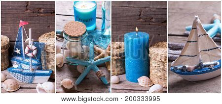 Summer site header. Collage from photos with ocean or coastal living decorations. Decorative wooden boats star fishes bottles with ocean treasures blue candle on aged wooden backgound.