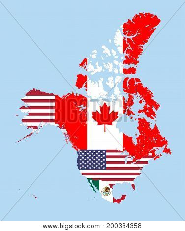 Canada, United States and Mexico map combined with flags