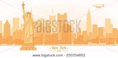 New York city skyline buildings landmarks Statue of Liberty freedom symbol silhouette vector illustration. Cityscape orange color Line art USA nyc modern flat panorama design web banner travel poster