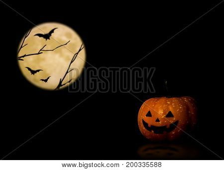 Halloween pumpkin trick or treat with full moon