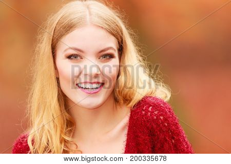 Portrait Of Stunning Pretty Smiling Woman.