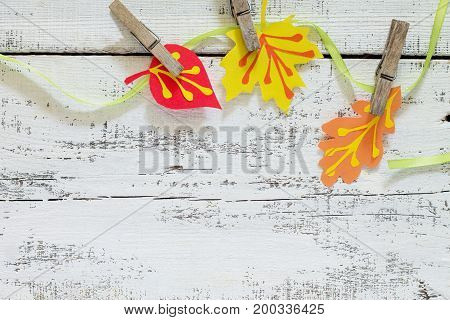 Autumn Frame. Garland Of Multicolored Leaves Of Trees. Children's Art Project, Craft For Children. C