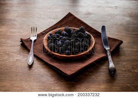 Blackberries And Blueberries In Plate