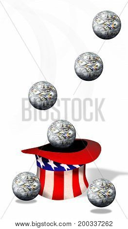 American money ball flying over Uncle Sam's hat.