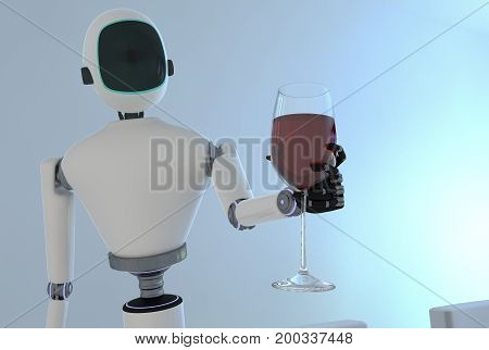 A service robot serving wine in a dining room(3d rendering)