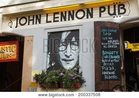PRAGUE, CZECH REPUBLIC - AUGUST 16, 2017: John Lennon pub in the Kampa island of Prague
