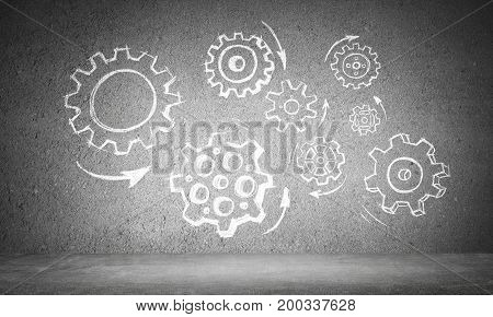 Hand drawn gear mechanism presented on gray wall. 3D rendering.