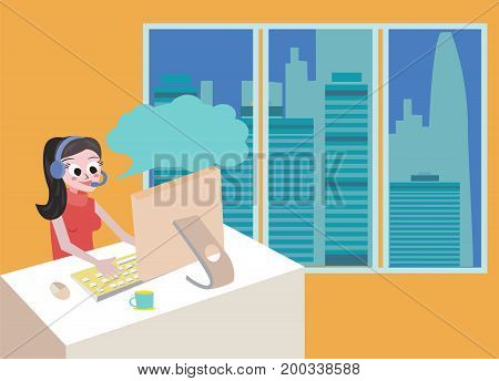 Technical girl support by phone woman with headset flat design illustration