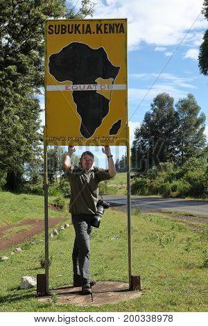 The Equator crossing in Kenya in Africa